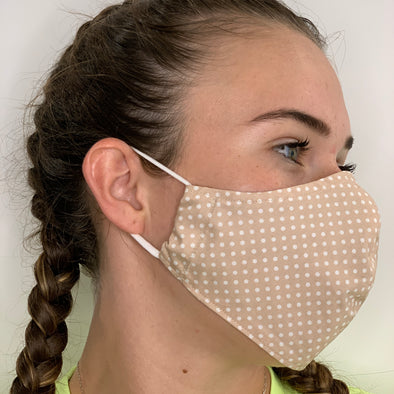 Beige fabric with white spots face mask - stay safe xx