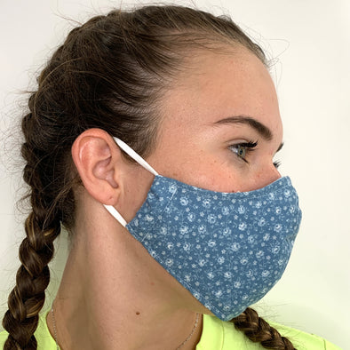 Denim blue face mask with grey floral pattern - stay safe xx