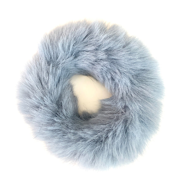 Fluffy Faux Fur Scrunchie in Blue