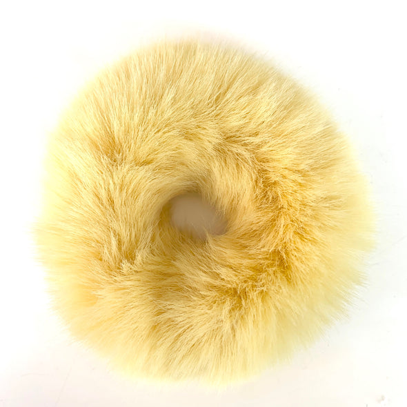 Fluffy Faux Fur Scrunchie in Lemon