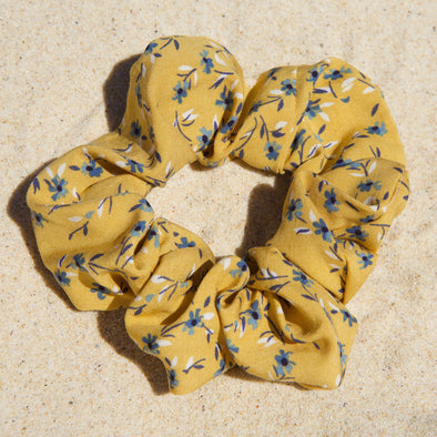 mustard scrunchie with blue flowers
