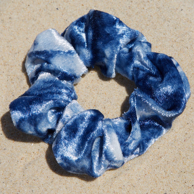 blue and white tie dye scrunchie