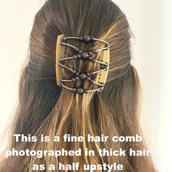 Fine blonde hair comb with gold beading