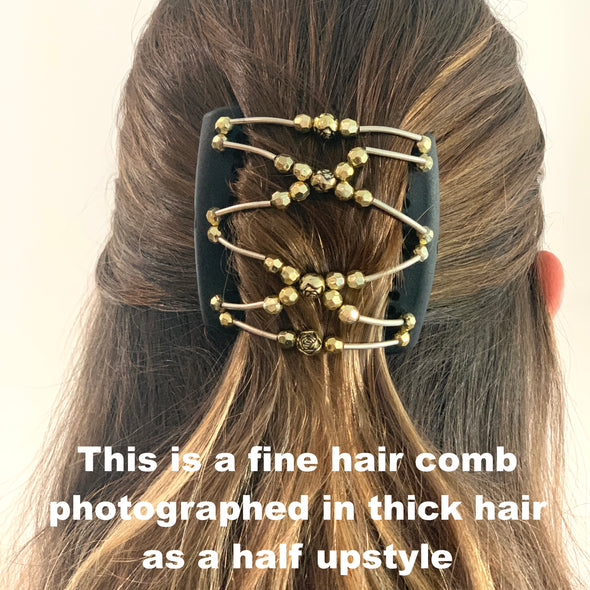 Fine black hair clip with copper centre beads and blue beads