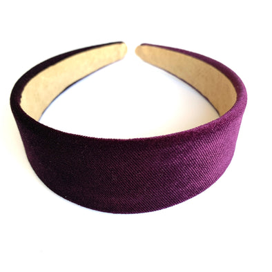 Gorgeous purple velvet headband that sits flat on the head  4cm at the widest part (sits at the top of the head)  Care: Use clean damp cloth  Imported