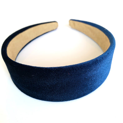 Gorgeous navy velvet headband that sits flat on the head  4cm at the widest part (sits at the top of the head)  Care: Use clean damp cloth  Imported