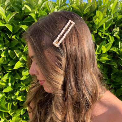 gorgeous rectangle pearl hair clamp