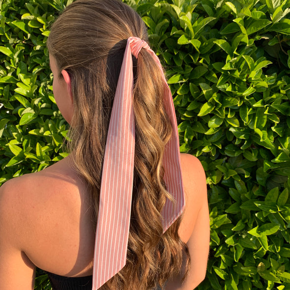gorgeous pale pink and white striped hair scarf