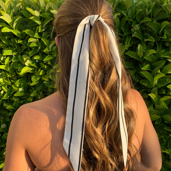 Gorgeous white hair scarf with black stripe throughout