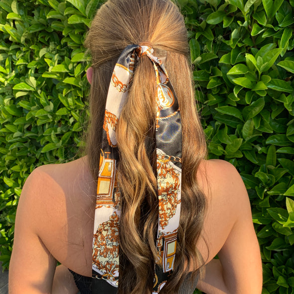 gorgeous black printed patterned hair scarf