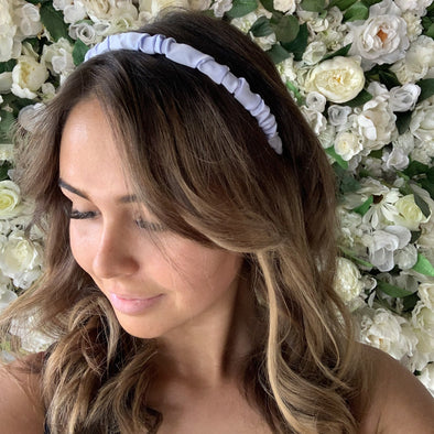 Avalon Lilac Headband. Soft scrunched fabric on thin headband. Soft and comfortable.