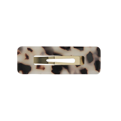 Brown/cream tortoiseshell small rectangle hair clip