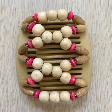 Fine blonde hair comb with natural light wooden beads and small pink and darker wooden beads