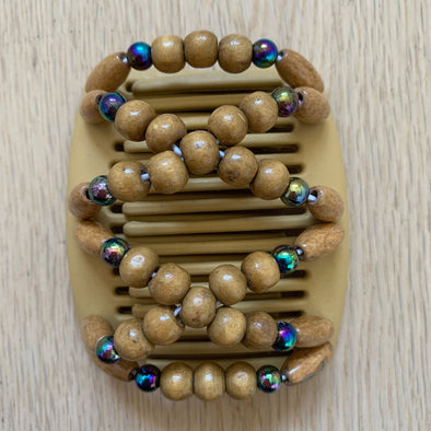 Fine blonde hair comb with natural wooden beads and dark holographic beads