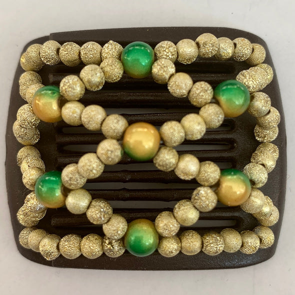 dark brown hair comb with gold beads and slightly larger green beading for children or those with fine hair