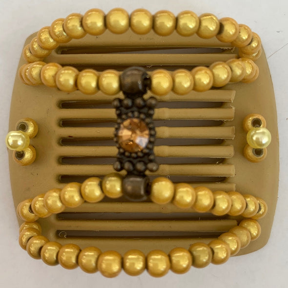 Beige hair comb with gold beading for children or those with fine hair
