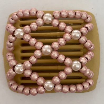 light brown hair comb with light pink beading for thin hair or children's hair