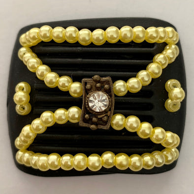 brown hair clip with yellow beading for fine hair or children's hair