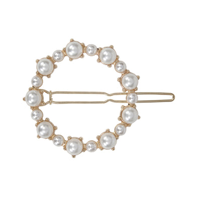 Gorgeous small pearl (faux) circle shape hair clip in gold setting