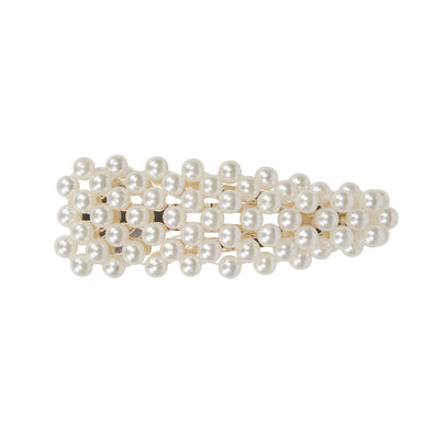 Large pearl fully covered triangle hair clip - gold