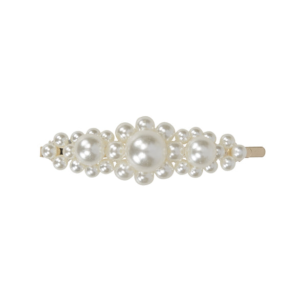 Gorgeous pearl hair clip with large and small arrangement of pearls set on gold coloured bobby pin base