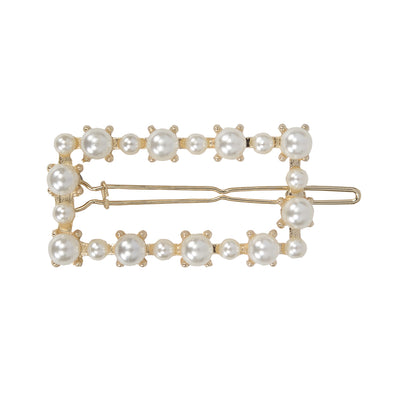 Small pearl (faux) rectangle hair clip - gold
