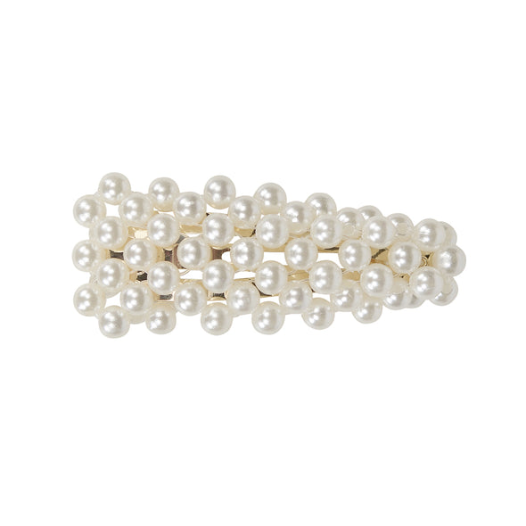 Small pearl fully covered hair clip - gold