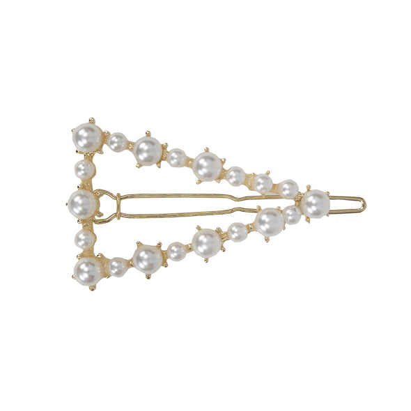 Gorgeous small pearl (faux) triangle hair clip in gold setting