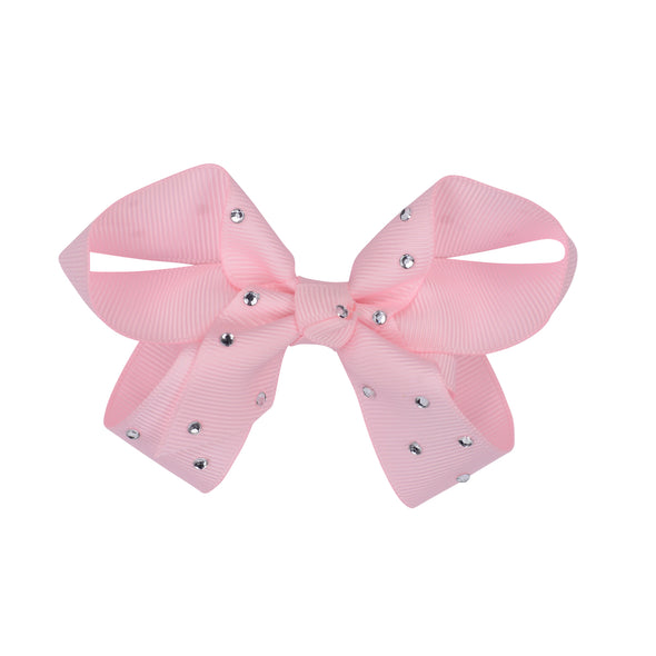 Pink diamonte hair bow