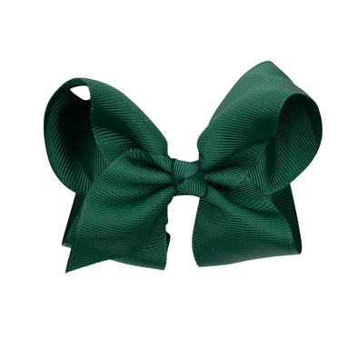 dark green clip on bow for hair