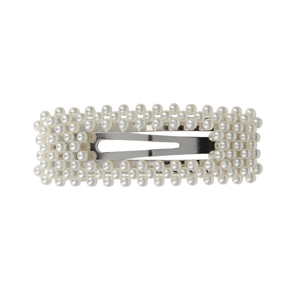 Gorgeous large pearl semi covered rectangle hair clip on silver coloured setting