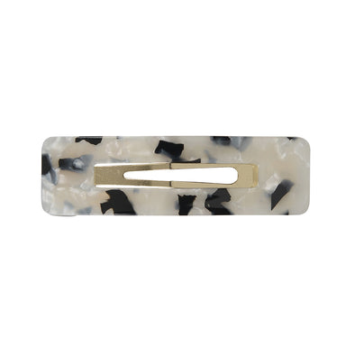 Yin-Yang Black/White Tortoiseshell Large Rectangle Hair Clip