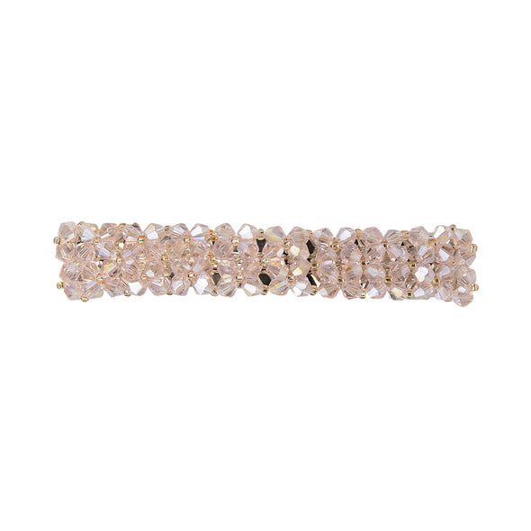 Gorgeous beaded crystal hair barrette in pale pink