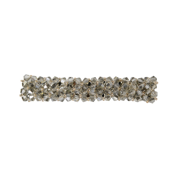 Gorgeous beaded crystal hair barrette in silver/grey colour