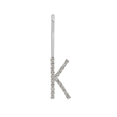 Initial letter K bobby pin with diamontes set in silver colour