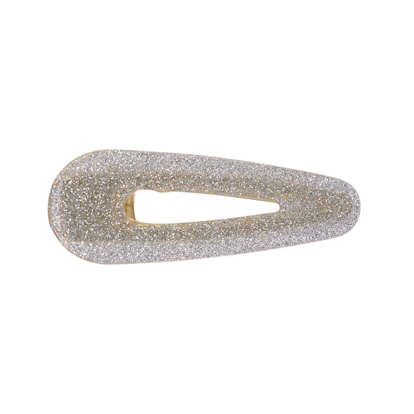 Gorgeous silver glitter hair clamp (hinged on one side)
