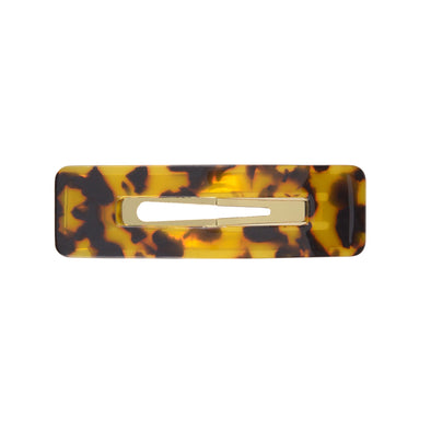 Tortoiseshell rectangle hair clip set on gold toned base