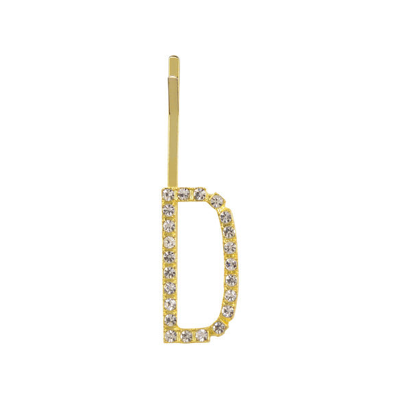 Initial Letter D Bobby Pin (Gold Colour)