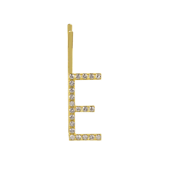 Initial Letter E Bobby Pin (Gold Colour)
