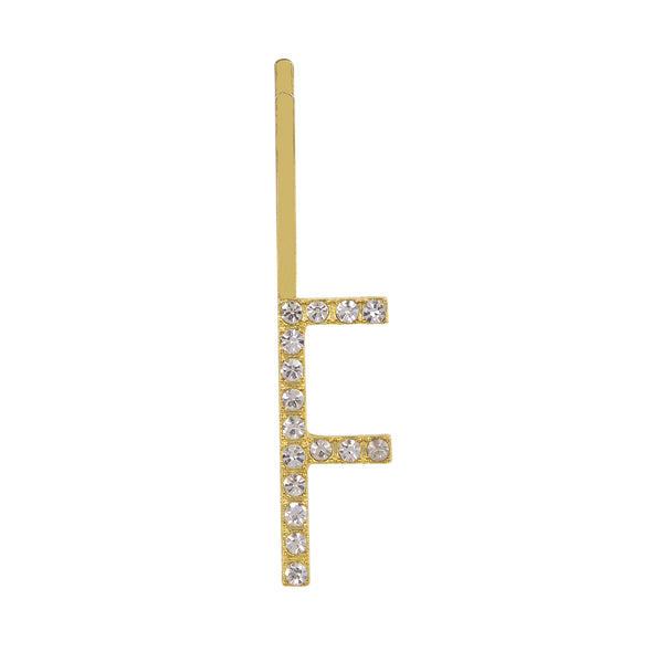 Initial F - gold toned bobby pin