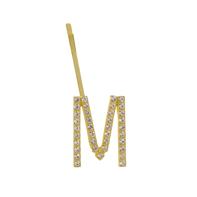 Initial M - gold toned bobby pin