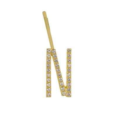 Initial Letter N Bobby Pin (Gold Colour)