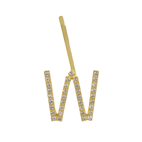 Initial Letter W Bobby Pin (Gold Colour)