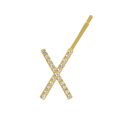 Initial X - gold toned bobby pin
