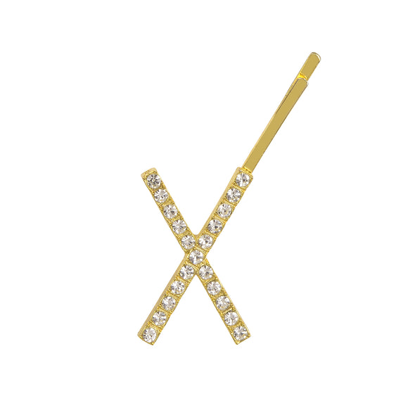 Initial Letter X Bobby Pin (Gold Colour)
