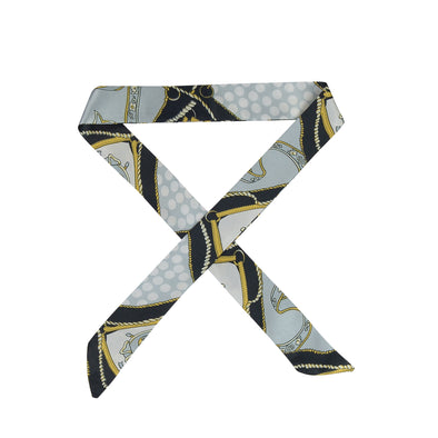 Gorgeous black/grey/white/yellow satin printed hair scarf