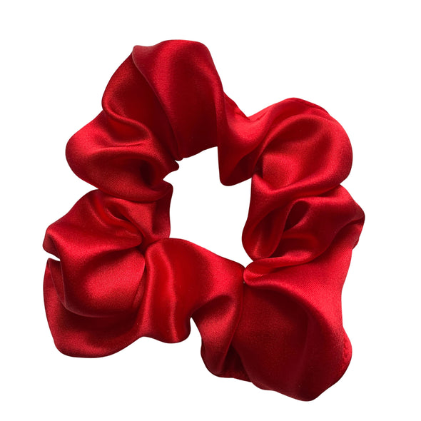 Scrunchies are back and they're here to stay! These stunning scrunchies look great in your hair and also work as gorgeous accessories.  Colour/Pattern: Red Material: 100% Mulberry Silk  Washing instructions: Cold hand wash  Dimensions: Material width approximately 4 cm  Made by us in Bondi Beach  With love from Larzy xx