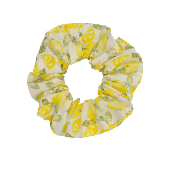 Gorgeous white with yellow lemon pattern scrunchie
