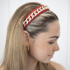 Anais Headband - Black With Gold Chain