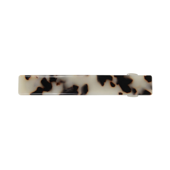 Dark brown/cream tortoiseshell hair barrette.